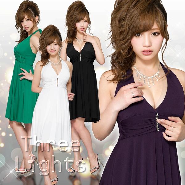 ワンピース通販〜スリーライツブランドの胸元ラインストーン☆ホルターネックのひらひらミディアムドレス