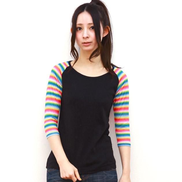 シャツ通販〜alexladysブランドのカラフルラグラン切替7分袖TシャツKRIFF MAYER LADYSクリフメイヤーレディース