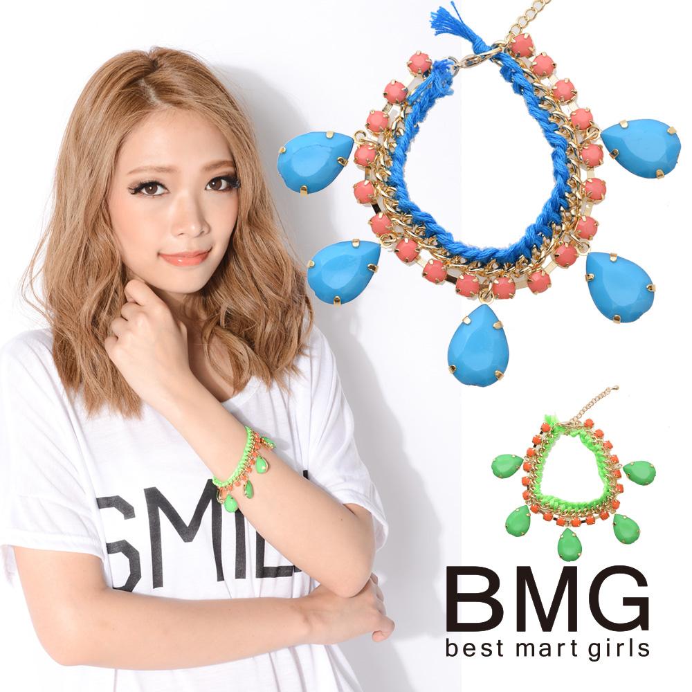 通販 BMG 石川 マリー レディース ブレスレット ベストマートガールズ カラービジューブレス 106148