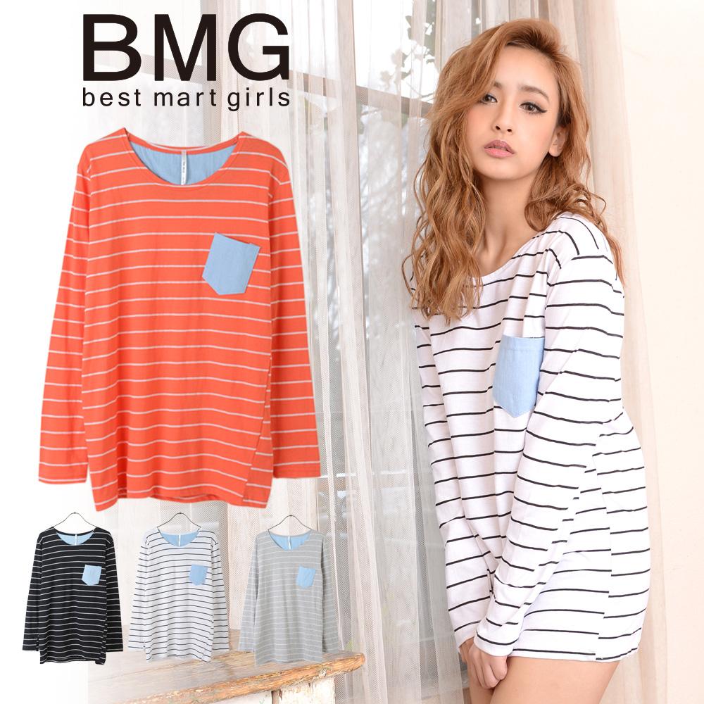 通販 BMG 矢野 安奈 レディース カットソー ベストマートガールズ 韓国ファッションボーダーロングTシャツ 107261