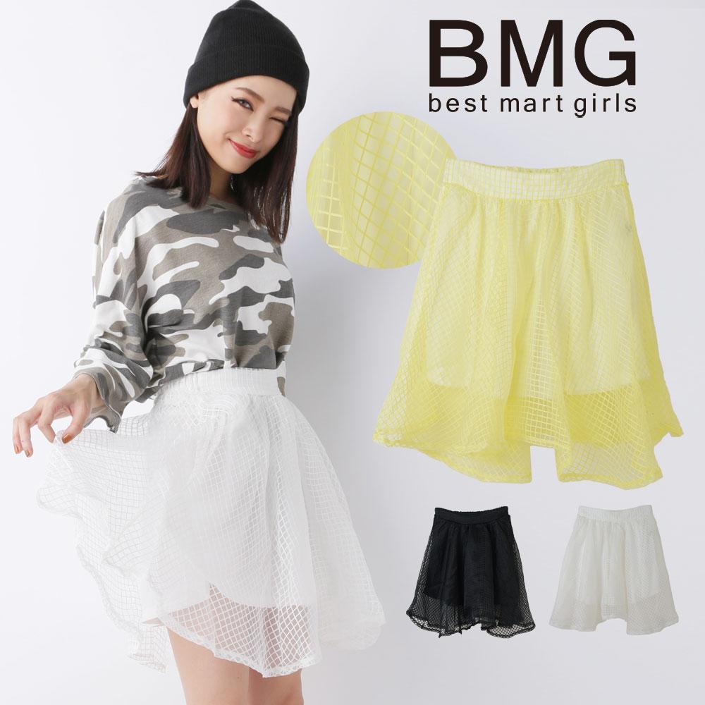 通販 BMG 水沢 アリー レディース スカート ベストマートガールズ シースルーチェックスカート 107325