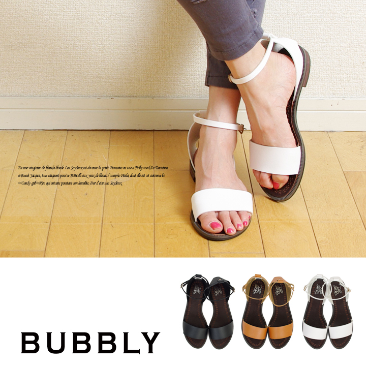 0d1f1b143b195e BUBBLY(バブリー) シングルレザーフラットサンダル(激安!ショップリストのレディース靴:by BUBBLY)