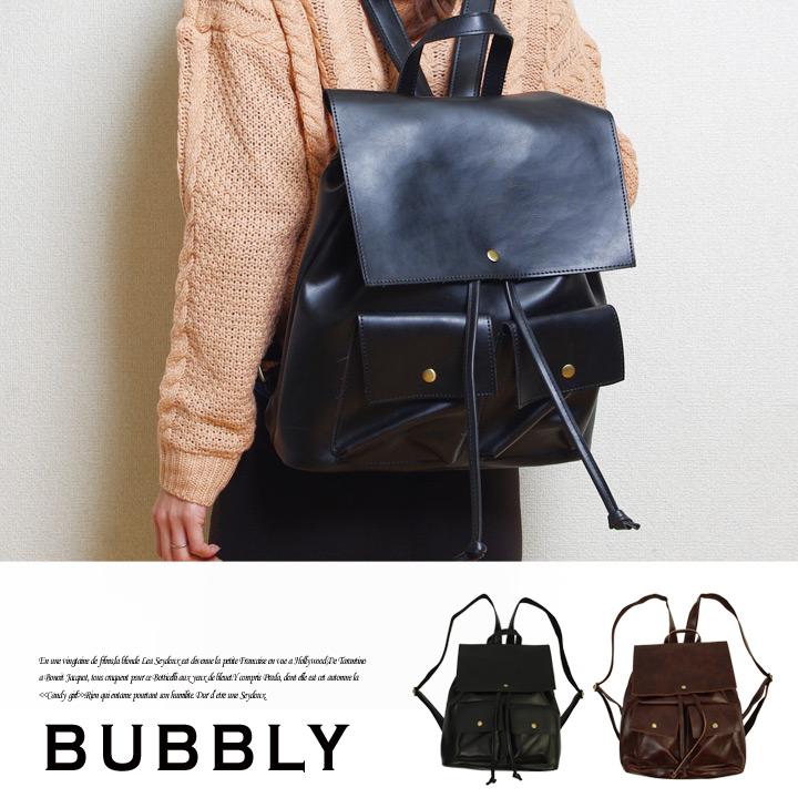 BUBBLY(バブリー) スクエアレザーリュックサック