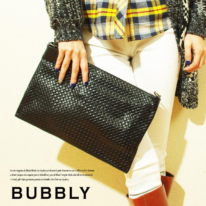 BUBBLY(バブリー)本革メッシュレザークラッチバッグ