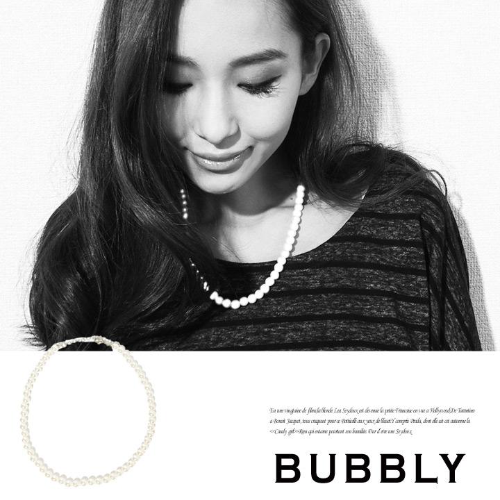 ネックレス通販〜BUBBLYブランドのBUBBLY(バブリー) 8mmパールネックレス40cm