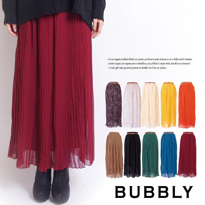 人気アイテム 通販〜BUBBLYブランドのBUBBLY(バブリー) 細ベルト付シフォンプリーツマキシ丈ロングスカート