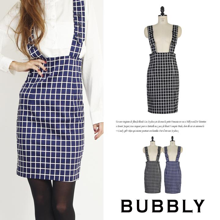 BUBBLY(バブリー) グラフチェックハイウエストペンシルタイトスカート