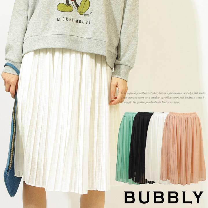 BUBBLY(バブリー) シフォンシャドーチェック柄プリーツ膝丈フレアスカート