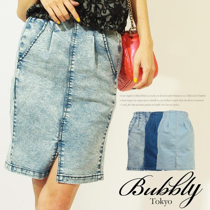 BUBBLY(バブリー) ストレッチデニムスリット開きタイトペンシル膝丈スカート