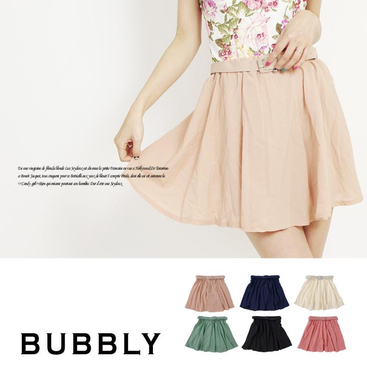 BUBBLY(バブリー) ベルト付きシフォンフレアミニスカート