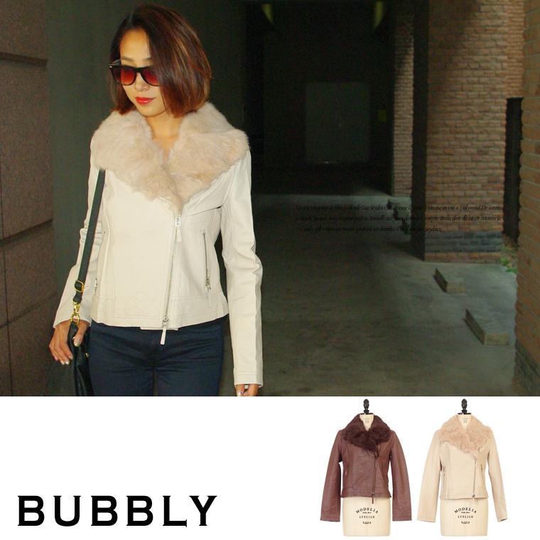 BUBBLY(バブリー) リアルファー付ダブルライダースラムレザージャケット