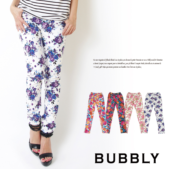 BUBBLY(バブリー) 花柄ストレッチレギンスパンツ