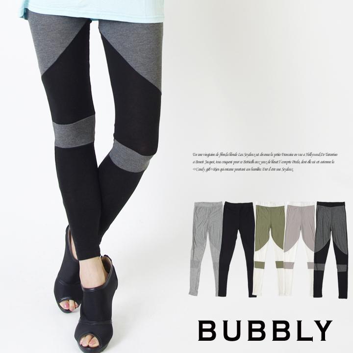 BUBBLY(バブリー) テレコ切り替え配色カットレギンス