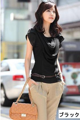 ベルト付属半袖Tシャツ ブラック/ホワイト ag-01A-413