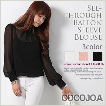 【ブラウス】bl7-4008バールン袖のタートルネックブラウスが登場♪バールン シースルー タートル 刺繍 シャーリング#SMLXL#【cocojoa】