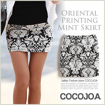 【スカート】s5-4015オリエンタル柄がポイントのスカートが登場♪タイトスカート ミニ丈 スリム スカート#Free#