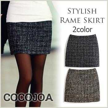 人気アイテム 通販〜COCOJOAブランドの【スカート】s7-3020キラキラ輝くおしゃれなスカートが登場★スカート ミニ丈 ツイード  レディース#SMLXL#