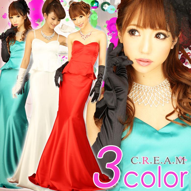 ワンピース通販〜C.R.E.A.M ブランドのシンプルペプラムサテン美ラインロングドレス