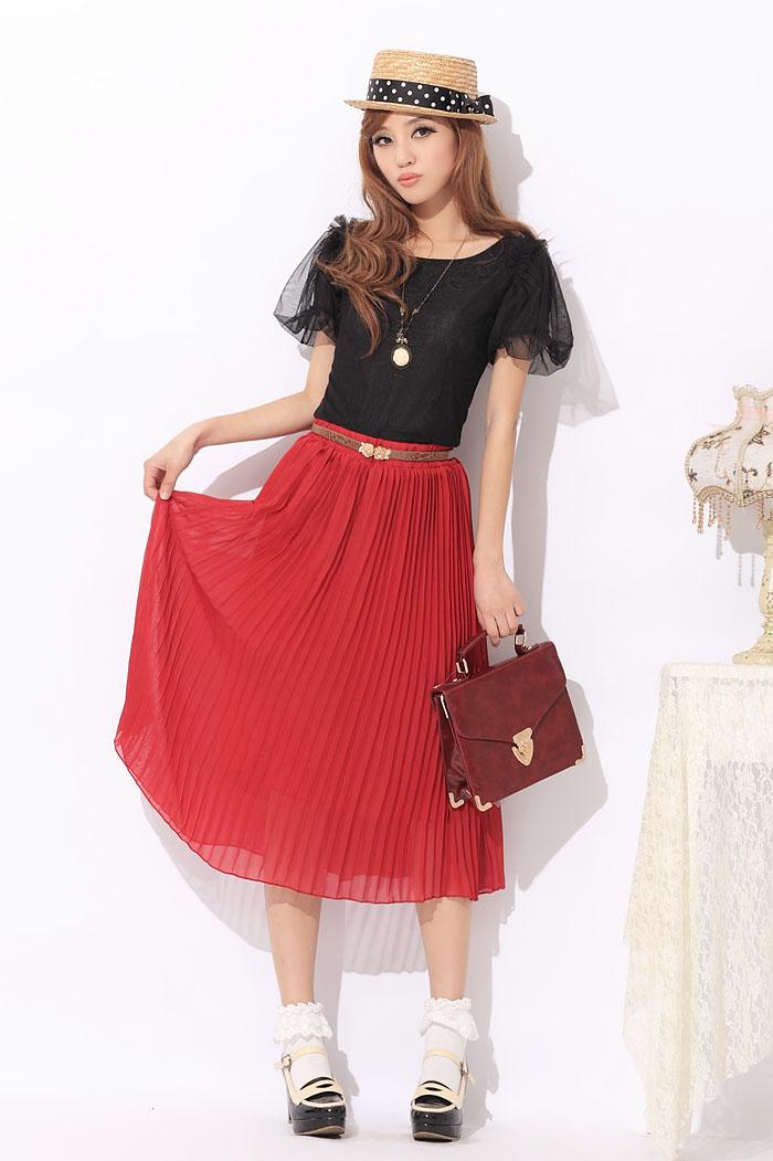 ★女性らしさ溢れる♪プリーツ加工シフォンスカート赤★