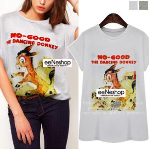 Dancing DonkeyルーズTシャツ[レディース][おしゃれコート・ワンピース・スカート・パンツ・Tシャツ・ニット・セットアップ・バッグ]
