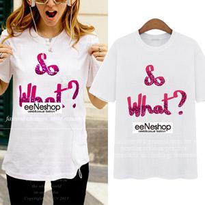 キャミソール通販〜eeneshopブランドのSo What?可愛いロゴラウンドTシャツ[レディース][バッグ・ワンピース・セットアップ・ニット・コート ・ジャケット・パンツ入荷]