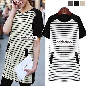 Stripe PocketロングTシャツ[レディース][おしゃれコート・ワンピース・スカート・パンツ・Tシャツ・ニット・セットアップ・バッグ]