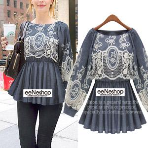 Embroideryデニムチゥニック[レディース][おしゃれコート・ワンピース・スカート・パンツ・Tシャツ・ニット・セットアップ・バッグ]