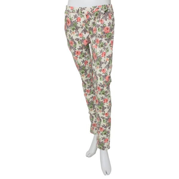 【スキニー ストレッチ 花柄 レギンスパンツ】花柄 レギパン スキニーレギンスパンツ ウエストゴム ゆったりウエスト 大きいサイズ美脚 ボトムス フラワーローズ 薔薇 レディース