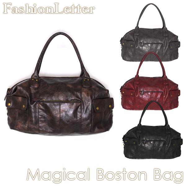 かばん マジカルボストンバッグ ユニセックス [RB] かばん レザーショルダーバッグ 大きいサイズ 女性 男性 森ガール 軽量メンズ