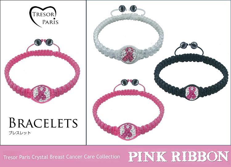 ブレスレット通販〜Felt Magliettaブランドの【Tresor Paris Crystal Breast Cancer Care Collection Pink ribbonトレゾアピンクリボン】ブレスレット