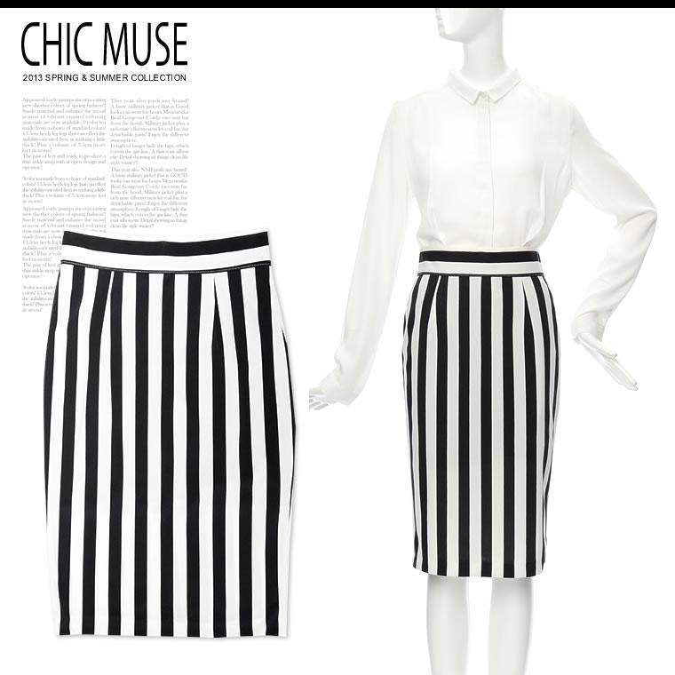 人気アイテム 通販〜GALSTARブランドの【ChicMuse】ストライプバックZIPスリット入りミディアムタイトスカート