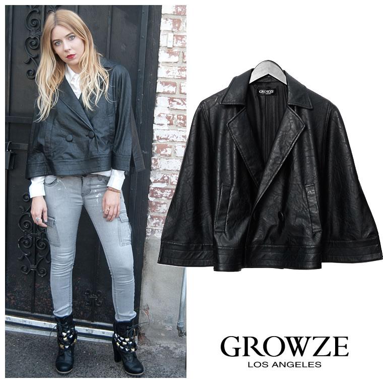 アウター通販〜GROWZEブランドの【GROWZE】2WAYフェイクレザーケープコートジャケット