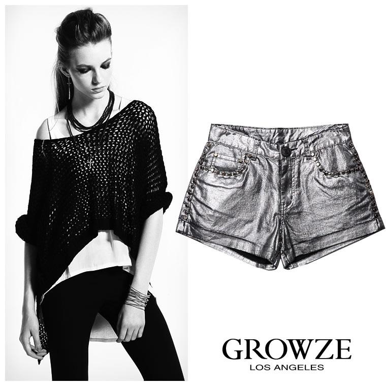 パンツ通販〜GROWZEブランドの【GROWZE】シャイニーメタリック加工スタッズ付きショートパンツ