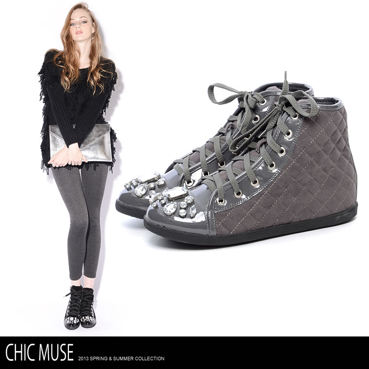 靴通販〜GALSTARブランドの【ChicMuse】4cmインヒールベロアキルティングビジュー付きハイカットスニーカーシューズ