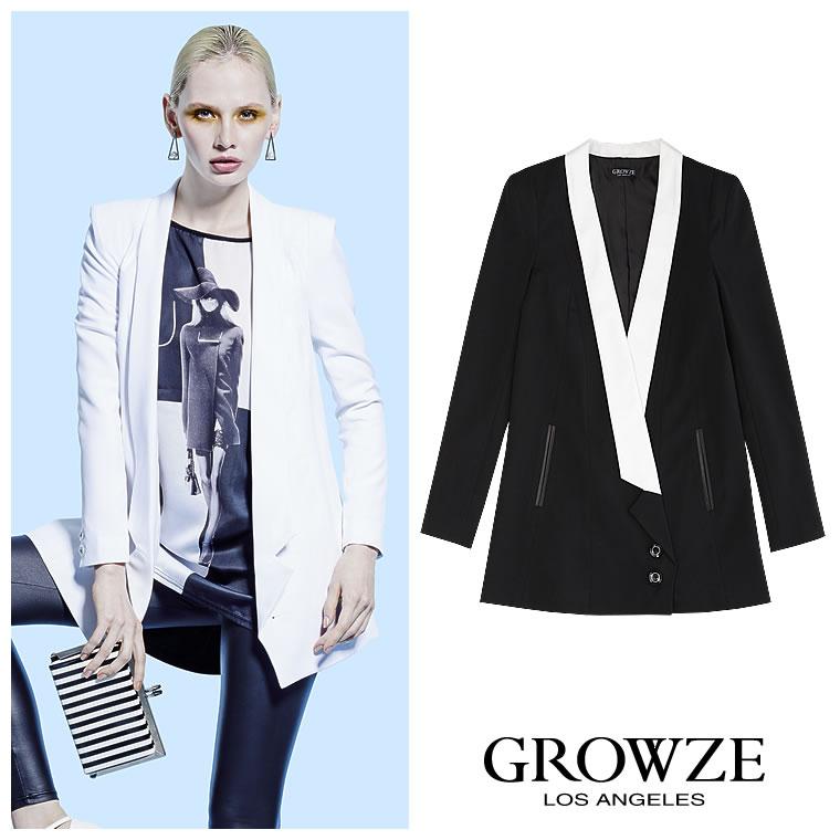 アウター通販〜GROWZEブランドの【GROWZE】肩パッド入りナローラペルロングジャケット