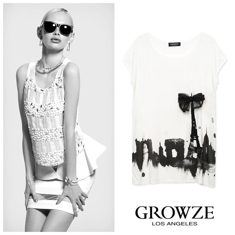 シャツ通販〜GROWZEブランドの【GROWZE】リボンスパンコールデザインプリントゆるTシャツミニワンピース