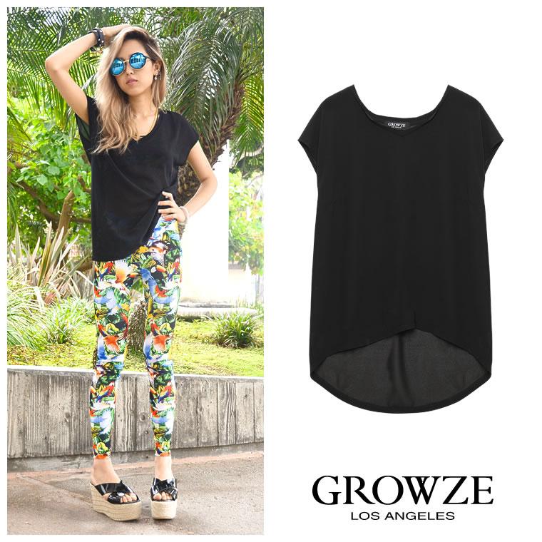 シャツ通販〜GROWZEブランドの【GROWZE】ジョーゼットカットオフVネックカットソーTシャツトップス