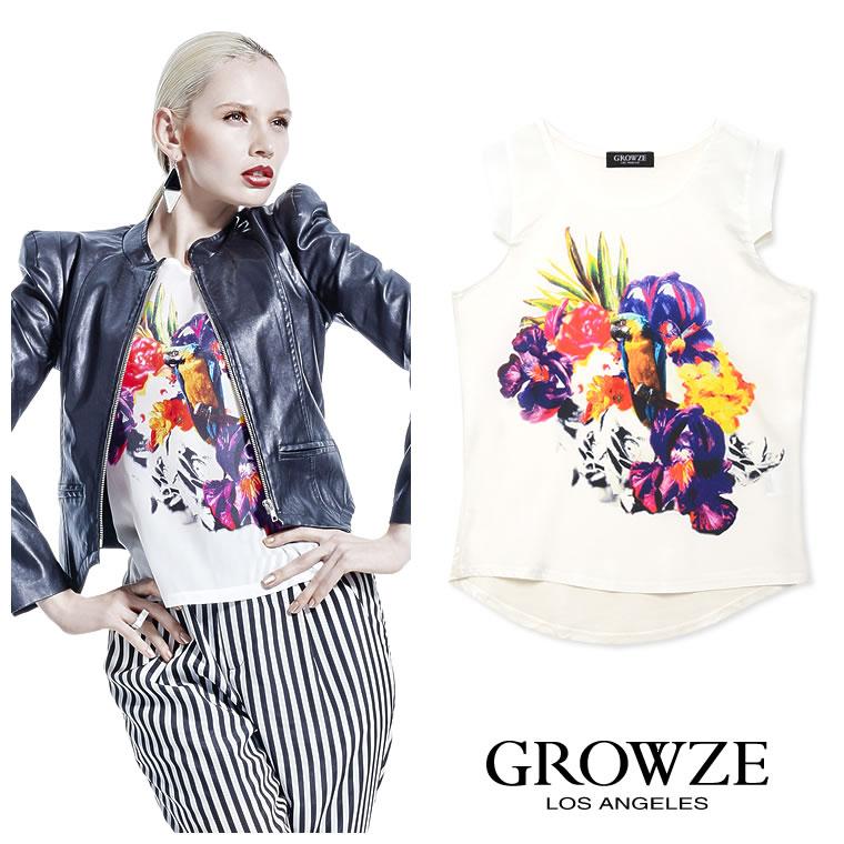 シャツ通販〜GROWZEブランドの【GROWZE】異素材MIXトロピカルアートフラワープリントトップス