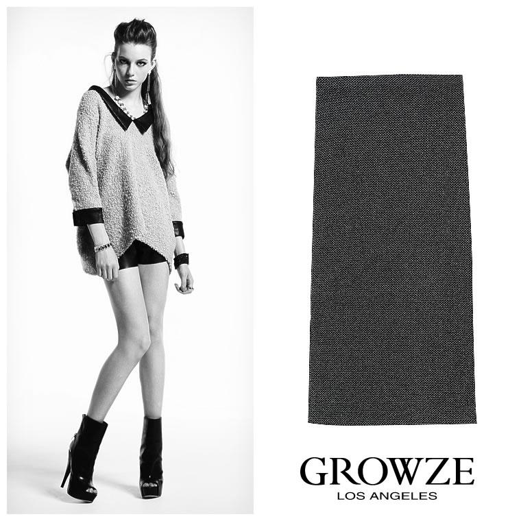 人気アイテム 通販〜GROWZEブランドの【GROWZE】ラメサイドスリットペンシルラインロング丈スカート