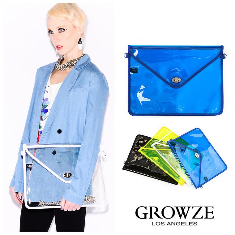 バッグ通販〜GROWZEブランドの【GROWZE】塩ビクリア素材ネオンカラーエンベロープ2Wayビックショルダークラッチバッグ