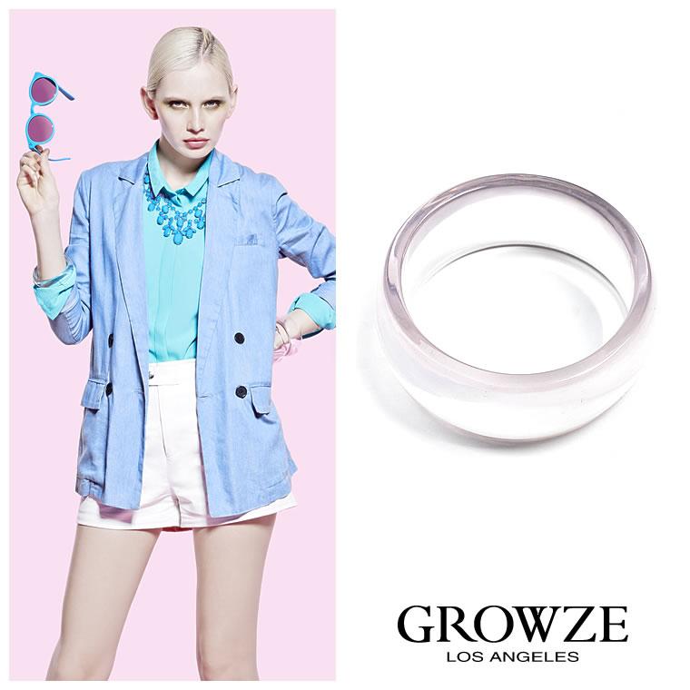 ブレスレット通販〜GROWZEブランドの【GROWZE】Bigサークルクリアスケルトンシンプル太バングル