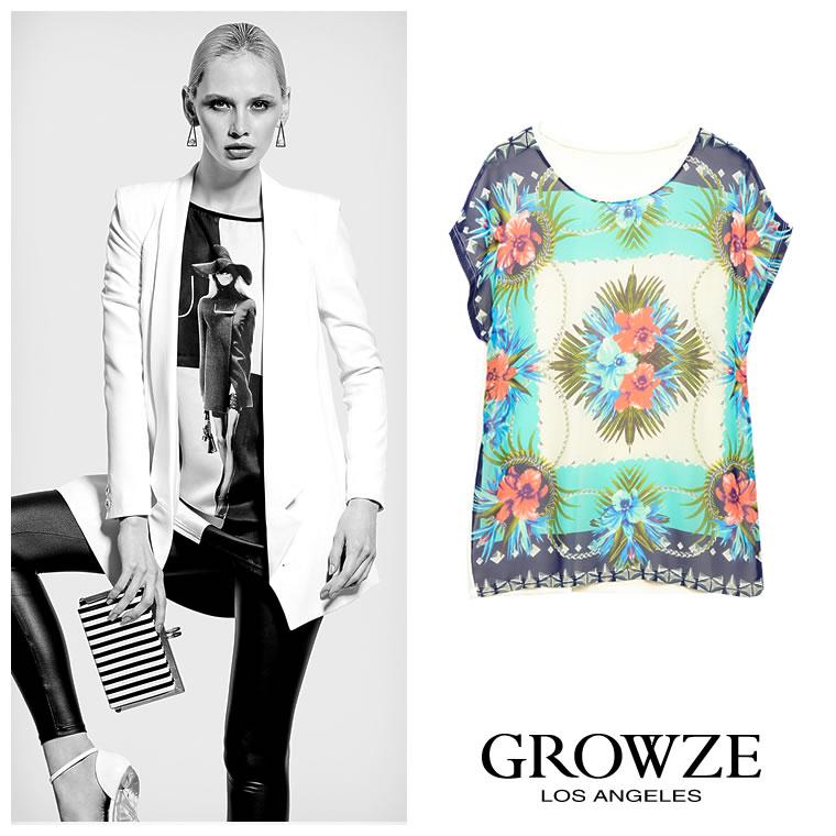 シャツ通販〜GROWZEブランドの【GROWZE】パネルフラワーアシンメトリープリントルーズTシャツ