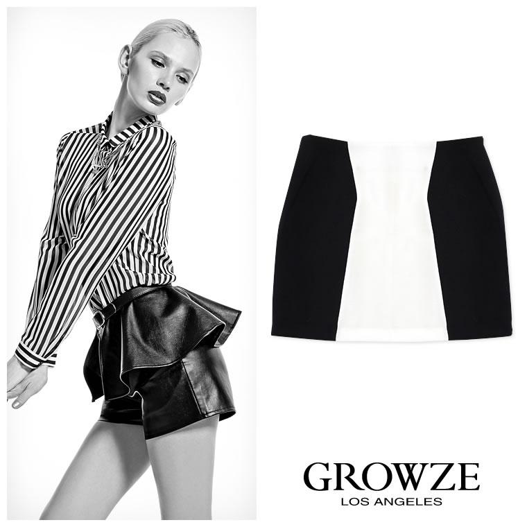 スカート通販〜GROWZEブランドの【GROWZE】変形ストライプタイトミニスカート
