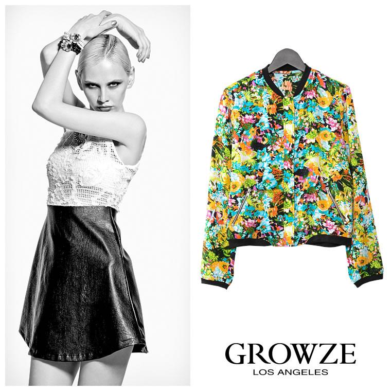 アウター通販〜GROWZEブランドの【GROWZE】【S/Sコレクション】トロピカルリゾート花柄フラワーブルゾン