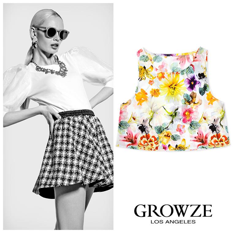キャミソール通販〜GROWZEブランドの【GROWZE】トロピカルフラワー花柄ノースリーブショートタンクトップ