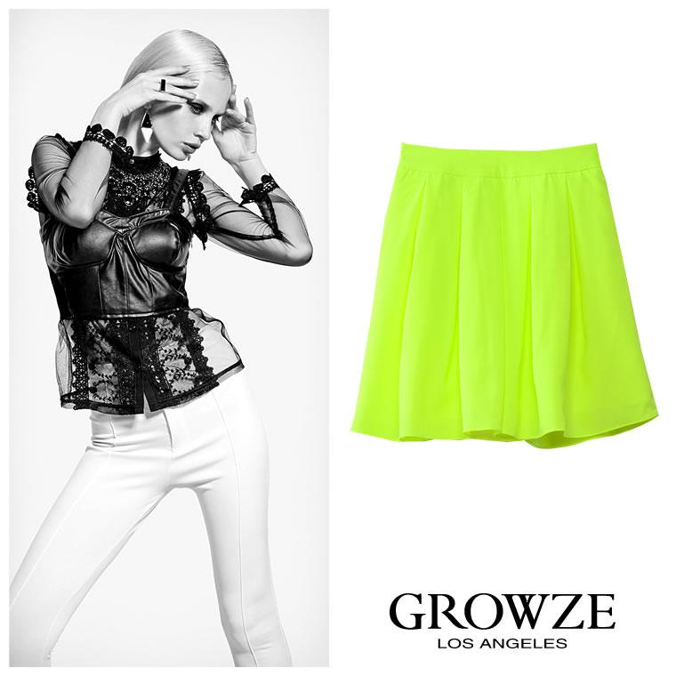 スカート通販〜GROWZEブランドの【GROWZE】ネオンカラータックフレアミニスカート