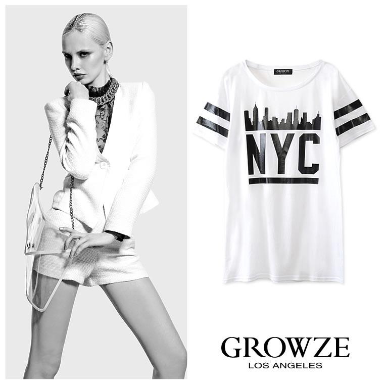 シャツ通販〜GROWZEブランドの【GROWZE】インパクトNYCロゴグラフィックプリントTシャツワンピース