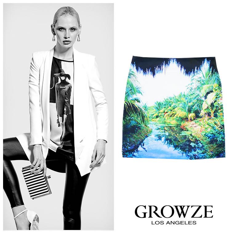 スカート通販〜GROWZEブランドの【GROWZE】ジャングルorパイプインパクトプリントタイトミニスカート