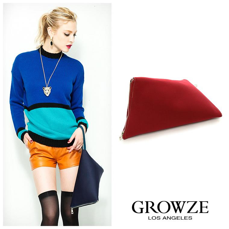 バッグ通販〜GROWZEブランドの[GROWZE]【A/Wコレクション】ダイバー風素材トライアングルデザインクラッチバッグ