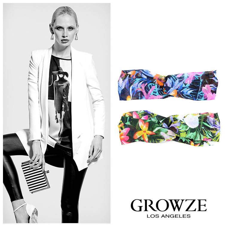 ジュエリー通販〜GROWZEブランドの【GROWZE】トロピカルリーフフラワー花柄プリントヘアバンドツイストターバン